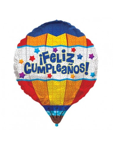 Globo Aerostatico Feliz Cumpleaños Forma 72cm Foil Poliamida K3436528