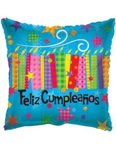 Globo Feliz Cumpleaños Velas - Cuadrado 45cm Foil Poliamida - K3416418