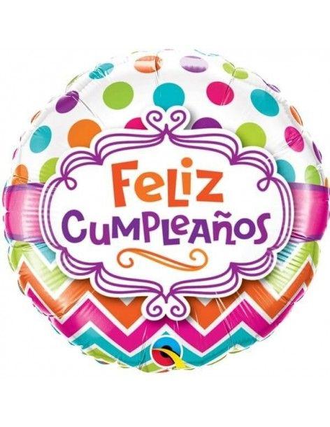 Globo Feliz Cumpleaños Chevron Dots Redondo 45cm Foil Poliamida Q17390