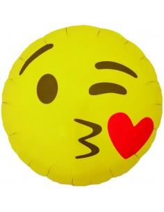 Globo Emoticono Besos con Corazon Redondo 45cm Foil Poliamida NSB01274