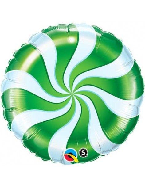 Globo Candy Swirl Green - Redondo 45cm Foil Poliamida - Q64333