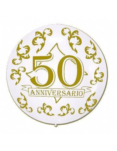 Globos 50 Aniversario Latex Esferico 75cm Metalizado Blanco