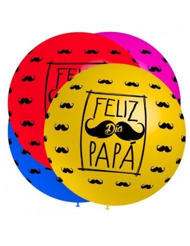 Globo Latex Redondo 60cm Feliz Día Papá