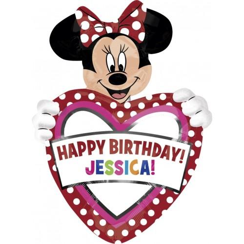 Globo Minnie Mouse Birthday - Forma 83x60cm Foil Poliamida -A2636301