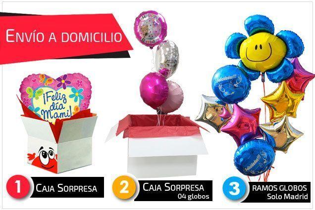 Ramos de globos y cajas sorpresa